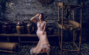 Picture pose, mood, dress, Asian