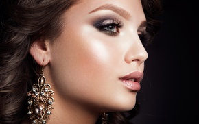 Picture look, girl, eyelashes, makeup, earrings, Korabkova