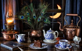 Wallpaper a month, still life, peacock feathers, book, cake, lamp, sugar, Cup, window, magnifier, feathers, kettle, ...