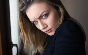 Wallpaper girl, photographer, blue eyes, model, mood, face, feeling, anger, Angry, Dmitry Sn, frowning