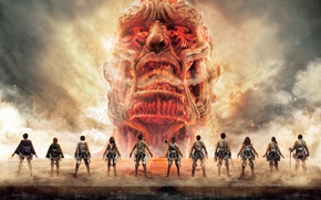 Wallpaper head, blade, Colossal Titan, warriors, sword, movie, flame, live action, anime, game, giant, fire, japanese, ...