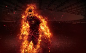 Picture wallpaper, sport, fire, stadium, football, player, AS Roma, The Olympic Stadium, Kevin Strootman
