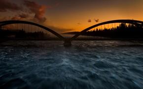 Picture night, bridge, river