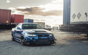 Picture GTR, Nissan, Blue, Skyline, R34