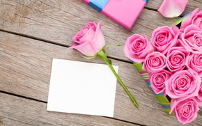 Wallpaper roses, love, wood, pink, romantic, sweet, gift, petals, roses, valentine`s day