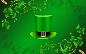 Wallpaper horseshoe, leaves, rendering, Ireland, cylinder, St. Patrick's day, vector, On March 17,