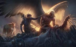 Picture sword, gun, blood, monster, weapon, dead, wings, man, ken, angel, blade, death, rifle, tenshi, ware …