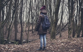 Picture autumn, forest, leaves, girl, trees, nature