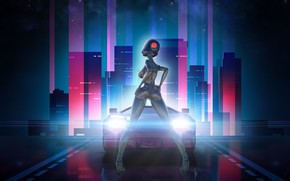 Wallpaper The city, Stars, The game, Robot, Neon, Machine, Light, Background, Synthpop, Darkwave, Synth, Neon Drive, ...