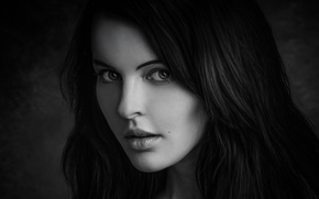 Picture look, girl, portrait, black and white photo
