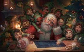 Wallpaper herringbone, Dear Satan: Merry Christmas and Happy New Year, Giselle Almeida, art, plan, Illustration, elves, ...