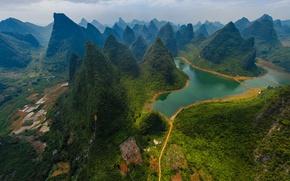 Wallpaper mountains, Guilin and Lijiang River National Park, river, China