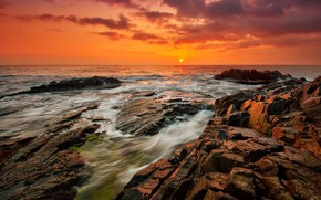 Picture sea, beach, sunset, nature, sunrise, stones, rocks, shore, nature, sunset, seascape, beautiful, sunrise, magnificent