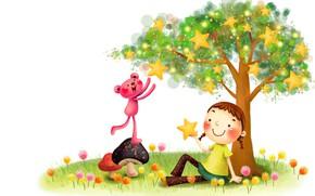 Wallpaper mood, vector, art, girl, stars, the pink Panther, children's