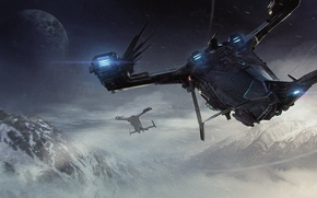 Wallpaper Esperia Prowler, planet, landing, starship, mountains, Star Citizen