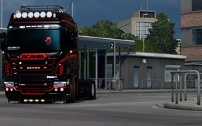 Picture Power, Front, Scania, R620, Diesel, Face, Low, elsa3dany1design, EuroTruckSimulator, elsa3dany1, ERTY, ETS, Euro5, HighPipes, LowDeck, …