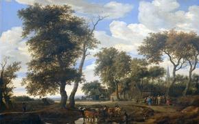 Picture landscape, oil, picture, canvas, The Edge Of The Village, Solomon van Ruisdael