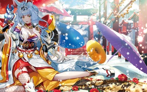 Picture girl, owl, sword, umbrella, mask, temple, neko, yukata, ears, anime, art