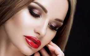 Picture girl, face, eyelashes, hair, hand, makeup, lipstick, lips, shadows, long