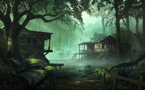 Picture bird, swamp, moss, hut, fairy forest, abandoned house, the roots of the tree