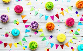 Picture candles, colorful, rainbow, cake, cream, Happy Birthday, colours, cupcake, celebration, cupcakes, cream, decoration, candle, Birthday