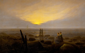 Picture landscape, stones, people, picture, Caspar David Friedrich, Moonrise over the Sea