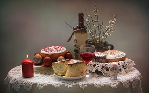 Picture wine, candle, Easter, cake, Verba, eggs