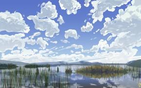 Picture Clouds, Figure, Lake, Day, Hills, Swamp, Art, Painting, Adele Olsauskaite, Khuisinnaimanlake