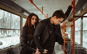 Picture girl, tram, guy