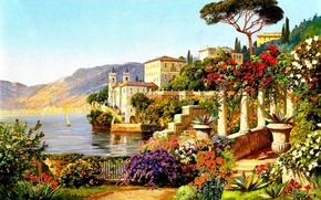 Picture summer, water, flowers, home, the bushes, Arnegger Alois