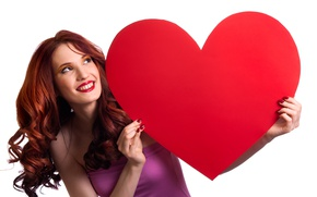 Picture girl, smile, red, makeup, dress, hairstyle, white background, brown hair, heart, Valentine's day