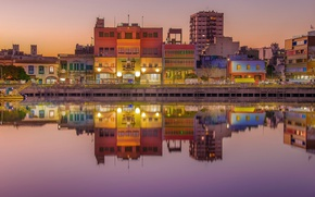 Picture lights, colorful, twilight, sunset, Argentina, dusk, reflection, mirror, Buenos Aires, River of the Silver