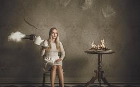 Picture girl, fantasy, fire, cloud, dress, Cup, book, Burning Breakfast, Petri Damstén