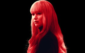 Picture hair, red, black background, detective, Thriller, Jennifer Lawrence, Jennifer Lawrence, Red Sparrow, Red Sparrow