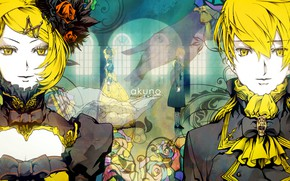 Picture anime, art, two, Vocaloid, Vocaloid, characters, Rin, Len