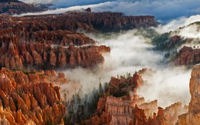 Picture clouds, rocks, Utah, USA, Bryce Canyon