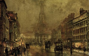 Picture street, home, picture, the urban landscape, John Atkinson Grimshaw, John Atkinson Grimshaw, Blackman Street. Borough