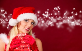 Wallpaper gloves, maiden, in red, new year, box, makeup, hairstyle, hat, snowflakes, cap, Christmas, blonde, background, ...