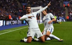 Picture Football, Premier League, Spain, Chelsea, Stamford Bridge, Alvaro, Celebration, Goal, Forward, Alvaro Morata, Morata