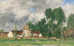 Picture clouds, trees, landscape, picture, Chartres, Eugene Boudin, Eugene Boudin