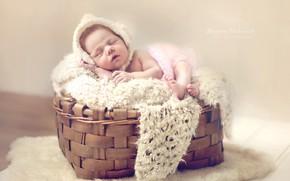 Picture basket, sleep, girl, fur, basket, baby, cap, baby
