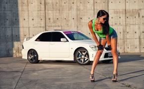 Picture Girls, glasses, hairstyle, Mitsubishi, beautiful girl, white car