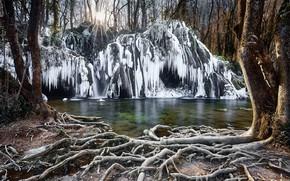 Picture winter, river, ice