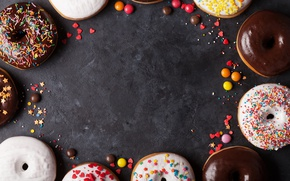 Wallpaper donuts, glaze, donuts, candy