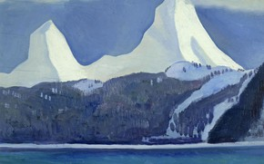 Picture sea, landscape, mountains, nature, picture, Rockwell Kent, Rockwell Kent, Snow-Capped Peaks. Kenai. Alaska