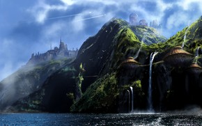 Wallpaper Lost Island, skull-waterfall, mountains, structure, waterfall, shore