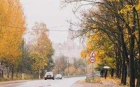 Picture road, autumn, the city, rain, Church, Mozhaysk, autumn trees, autumn city