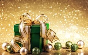 Wallpaper balls, gift, New Year, Christmas, golden, christmas, balls, bokeh, merry christmas, gift, decoration, xmas
