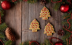 Picture holiday, toys, new year, gingerbread, treat, fir-tree branches