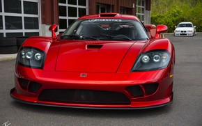 Picture red, design, lights, sports car, the front, Twin Turbo, Saleen S7, manual Assembly